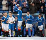 Kieran Duffy leads the Rangers team out as a mascot