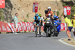 Nikita Stalnov (KAZ) Astana Pro Team and Benjamin King (USA) Team Dimension Data on the slopes of Sierra de la Alfaguara near the finish of Stage 4 of the La Vuelta 2018, running 162km from Velez-Malaga to Alfacar, Sierra de la Alfaguara, Andalucia, Spain. 28th August 2018.<br /> Picture: Eoin Clarke | Cyclefile<br /> <br /> <br /> All photos usage must carry mandatory copyright credit (&copy; Cyclefile | Eoin Clarke)