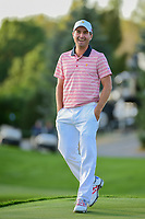 Kevin Kisner (USA) celebrates winning the match on 18 during round 2 Four-Ball of the 2017 President's Cup, Liberty National Golf Club, Jersey City, New Jersey, USA. 9/29/2017.<br /> Picture: Golffile | Ken Murray<br /> <br /> All photo usage must carry mandatory copyright credit (&copy; Golffile | Ken Murray)