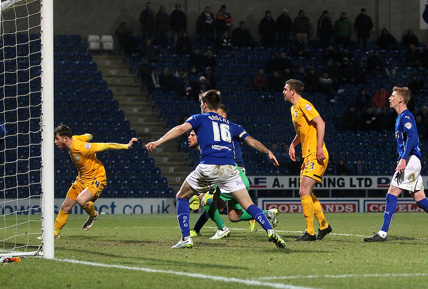 Preston North End's Joe Garner [ far left] scores his sides second goal <br /> <br /> Photographer Mick Walker/CameraSport<br /> <br /> Football - The Football League Sky Bet League One - Tuesday 10th February 2015 - Chesterfield v Preston North End - Proact Stadium - Chesterfield<br /> <br /> &copy; CameraSport - 43 Linden Ave. Countesthorpe. Leicester. England. LE8 5PG - Tel: +44 (0) 116 277 4147 - admin@camerasport.com - www.camerasport.com