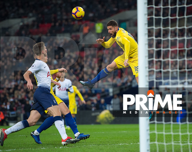 Chelsea's Olivier Giroud scoring during the Premier League match between Tottenham Hotspur and Chelsea at Wembley Stadium, London, England on 24 November 2018. Photo by Andrew Aleksiejczuk / PRiME Media Images.