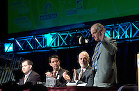 March 19 2003, Montreal, Quebec, Canada<br /> <br /> From Left to Right :<br />  Martin Dussault, President of Reseau Environnement<br /> Andre Boisclair , Quebec's Environment Minister,<br /> David Anderson, Canada's Environment Minister and<br /> Andre Caille, Hydro Quebec President and CEO, Honorary President of Americana 2003,<br />  at  the Opening plenary Session of Americana, a 3 days conference &amp; trade show on environment and waste management organized by Reseau Environnement, March 19 2003 in Montreal, Canada.<br /> <br /> Mandatory Credit: Photo by Pierre Roussel- Images Distribution. (&copy;) Copyright 2003 by Pierre Roussel <br /> <br /> NOTE : <br />  Nikon D-1 jpeg opened with Qimage icc profile, saved in Adobe 1998 RGB<br /> .