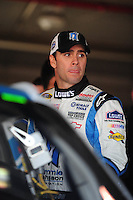 Oct. 10, 2009; Fontana, CA, USA; NASCAR Sprint Cup Series driver Jimmie Johnson during practice for the Pepsi 500 at Auto Club Speedway. Mandatory Credit: Mark J. Rebilas-