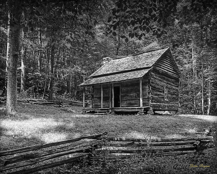 Black and White image of log cabin in GSMNP.