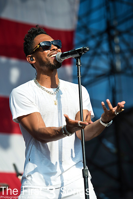 Miguel (born Miguel Jontel Pimentel) performs during the 2013 Budweiser Made in America Festival in Philadelphia, Pennsylvania.