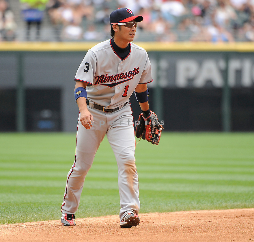 TSUYOSHI NISHIOKA, of the Minnesota Twins, in action during the Twins game against the Chicago White Sox on July 10, 2011 at US Cellular Field in Chicago, Illinois. The Twins beat the White Sox 3-6.