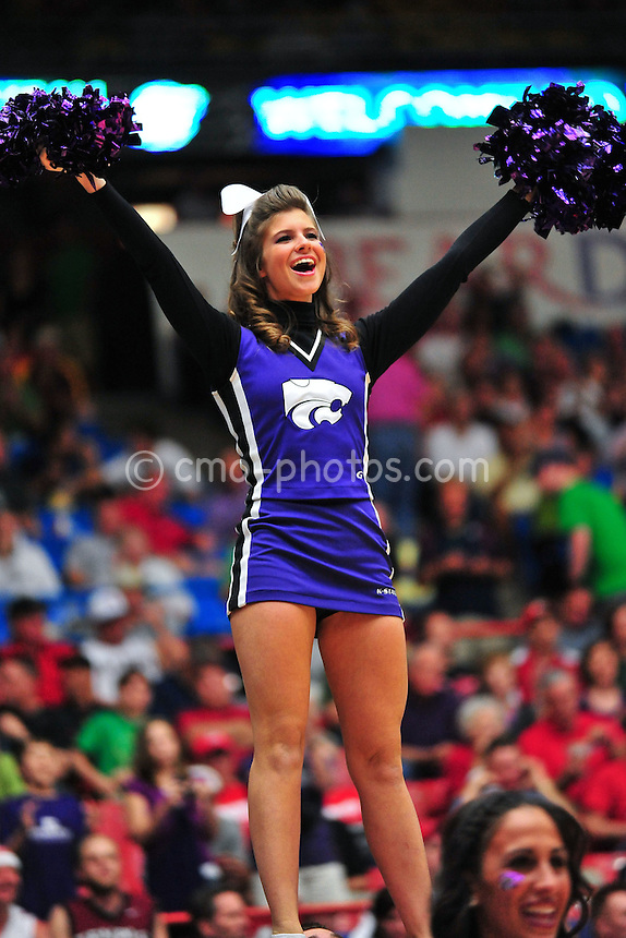 Mar 17, 2011; Tucson, AZ, USA; A Kansas State Wildcats cheerleader in the second half of a game against the Utah State Aggies in the second round of the 2011 NCAA men's basketball tournament at the McKale Center.
