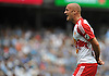 Aurelien Collin #78 of New York Red Bulls reacts after a call goes against his team during a Major League Soccer match against the NYC Football Club at Yankee Stadium on Sunday, July 3, 2016. NYCFC won by a score of 2-0.