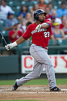 Oklahoma City RedHawks first baseman Jon Singleton (23) doubles during the Pacific Coast League baseball game against the Round Rock Express on July 9, 2013 at the Dell Diamond in Round Rock, Texas. Round Rock defeated Oklahoma City 11-8. (Andrew Woolley/Four Seam Images)