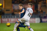 4th January 2020; Dens Park, Dundee, Scotland; Scottish Championship Football, Dundee FC versus Inverness Caledonian Thistle; Danny Johnson of Dundee challenges for the ball with Kevin McHattie of Inverness Caledonian Thistle  - Editorial Use