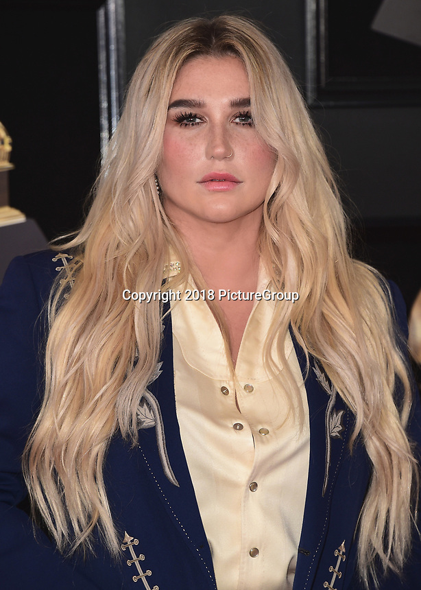 NEW YORK - JANUARY 28:  Kesha at the 60th Annual Grammy Awards at Madison Square Garden on January 28, 2018 in New York City. (Photo by Scott Kirkland/PictureGroup)