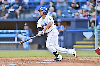 Asheville Tourists first baseman Josh Fuentes (19) swings at a pitch during a game against the Greenville Drive at McCormick Field on May 24, 2016 in Asheville, North Carolina. The Tourists defeated the Drive 17-7. (Tony Farlow/Four Seam Images)