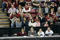 15 December 2007: Stanford Cardinal president John L. Hennessy, senior assistant Jeff Wachtel, deputy director of athletics Ray Purpur, associate athletic director Beth Goode, and director of athletics Bob Bowlsby during Stanford's 25-30, 26-30, 30-23, 30-19, 8-15 loss against the Penn State Nittany Lions in the 2007 NCAA Division I Women's Volleyball Final Four championship match at ARCO Arena in Sacramento, CA.
