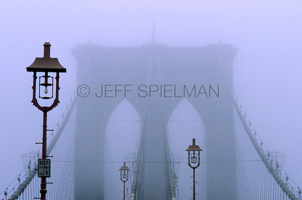 Brooklyn Bridge in Early Morning Fog, New York City, New York State, USA