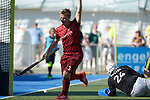 GER - Mannheim, Germany, May 27: During the men semi-final match between Rot-Weiss Koeln and Harvestehuder THC at the Final4 tournament May 27, 2017 at Am Neckarkanal in Mannheim, Germany. (Photo by Dirk Markgraf / www.265-images.com) *** Local caption *** Mats (C) GRAMBUSCH #3 of Rot-Weiss Koeln