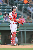 Catcher Alex McKeon (17) of the Greenville Drive bats in a game against the Savannah Sand Gnats on Thursday, September 3, 2015, at Fluor Field at the West End in Greenville, South Carolina. (Tom Priddy/Four Seam Images)