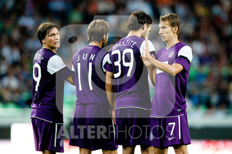 28.07.2011, SRC Stozice, Ljubljana, SLO, UEFA EL Qualifikation, NK Olimpija Ljubljana vs FK Austria Wien, im Bild Marko Stankovic, Tomas Jun, Nacer Barazite and Florian Klein of FK Austria Wien during football match between NK Olimpija Ljubljana (SLO) and FK Austria Wien (AUT) of 1st Leg of Europa League Third Qualifying Round, on July 28, 2011, in  SRC Stozice, Ljubljana, Slovenia. EXPA Pictures © 2011, PhotoCredit: EXPA/ Sportida/ Matic Klansek Velej +++++ ATTENTION - OUT OF SLOWENIA  +++++