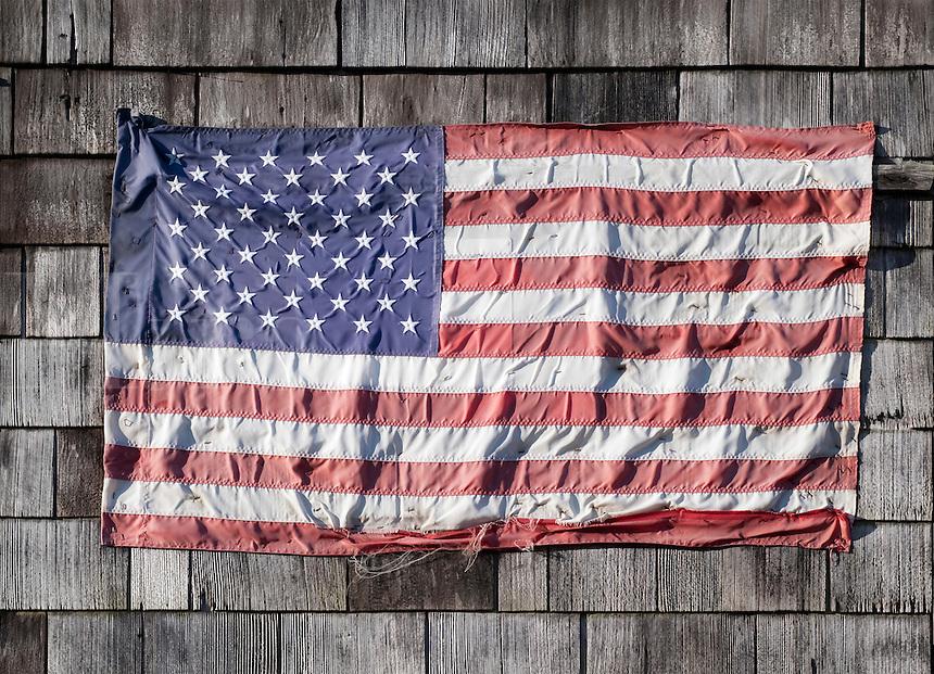 Worn American flag.