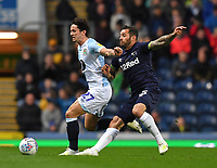 Blackburn Rovers' Lewis Travis battles with Derby County's Bradley Johnson<br /> <br /> Photographer Dave Howarth/CameraSport<br /> <br /> The EFL Sky Bet Championship - Blackburn Rovers v Derby County -Tuesday 9th April 2019 - Ewood Park - Blackburn<br /> <br /> World Copyright &copy; 2019 CameraSport. All rights reserved. 43 Linden Ave. Countesthorpe. Leicester. England. LE8 5PG - Tel: +44 (0) 116 277 4147 - admin@camerasport.com - www.camerasport.com
