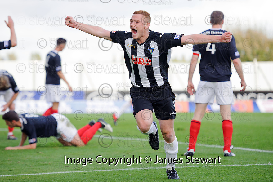 Pars' Ryan Thomson celebrates after he scores Dunfermline's second  ...