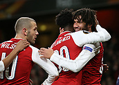 7th December 2017, Emirates Stadium, London, England; UEFA Europa League football, Arsenal versus BATE Borisov; Mohamed Elneny of Arsenal celebrates after scoring his sides 6th goal during the 2nd half to make it 6-0 with Ainsley Maitland-Niles of Arsenal and Olivier Giroud of Arsenal