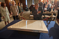 The New York Public Library announces an agreement to display their copy of the original Bill of Rights at an unveiling of the document at the main branch of the library in New York on Wednesday, May 22, 2013. The over 200 year old document is one of 14 copies made and distributed to the 13 former colonies and the federal government. This copy has not been displayed for decades and a state of the art box containing protective glass and argon gas to prevent deterioration is being constructed for it. The copy will be displayed by the National Constitution Center in Philadelphia from 2014 to 2017 and then traveling back to the NYPL where the library will continue to display it 60 percent of the time. (© Richard B. levine)
