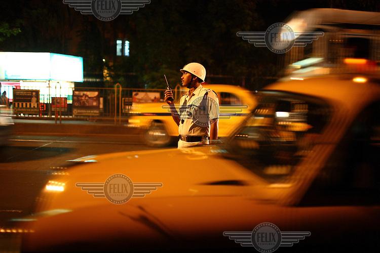 Traffic police on the streets of Kolkata.