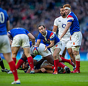 10th February 2019, Twickenham Stadium, London, England; Guinness Six Nations Rugby, England versus France; Morgan Parra of France clears the ball from the ruck
