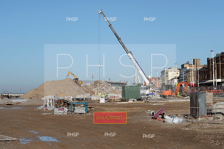 16/02/2011 Blackpool Lancashire UK.Construction on the Comedy Carpet/Tower headland...© Phill Heywood.