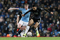 Burnley's Dwight McNeil under pressure from Manchester City's Kevin De Bruyne<br /> <br /> Photographer Rich Linley/CameraSport<br /> <br /> Emirates FA Cup Fourth Round - Manchester City v Burnley - Saturday 26th January 2019 - The Etihad - Manchester<br />  <br /> World Copyright © 2019 CameraSport. All rights reserved. 43 Linden Ave. Countesthorpe. Leicester. England. LE8 5PG - Tel: +44 (0) 116 277 4147 - admin@camerasport.com - www.camerasport.com