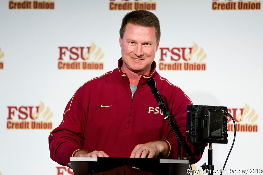 TALLAHASSEE, FLA. 2/6/13-FSUSIGNDAY020613 CH-Florida State University Running backs Coach Randy Sanders speaks during the national signing day War Party, Feb. 6, 2013 in Tallahassee..COLIN HACKLEY PHOTO