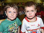 Dylan Devlin and Isac Rowe pictured at Ardee Celtic underage awards night in Ardee Parish Centre. Photo:Colin Bell/pressphotos.ie