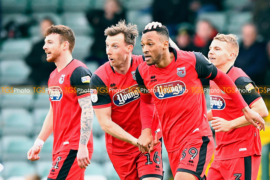 Wes Thomas of Grimsby Townis congratulated on scoring the first goal by Martyn Woolford of Grimsby Town during Yeovil Town vs Grimsby Town, Sky Bet EFL League 2 Football at Huish Park on 9th February 2019
