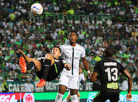 PALMIRA - COLOMBIA, 02-05-2018: Danny Rosero (Der) del Deportivo Cali disputa el balón con Diego Braghieri (Izq) de Atlético Nacional durante partido por la fecha 14 de la Liga Águila II 2017 jugado en el estadio Palmaseca de Cali. / Danny Rosero (R) player of Deportivo Cali fights for the ball with Diego Braghieri (L) player of Atletico Nacional during match for the date 14 of the Aguila League II 2017 played at Palmaseca stadium in Cali.  Photo: VizzorImage/ Nelson Rios / Cont