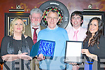Patrick O'Leary Killarney who celebrated his retirement from the Department of Social Protection, Killarney with his family and friends in the Killarney Avenue Hotel on Thursday night l-r: Bernadette O'Mahony, John Herlihy, Patrick O'Leary, Sean Murphy and Colette Lundy..
