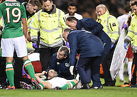 06/10/2016; 2018 FIFA World Cup Qualifier Republic of Ireland vs Georgia; Aviva Stadium, Dublin<br /> The Ireland medical staff treat Robbie Brady for an injury.<br /> Photo Credit: actionshots.ie/Tommy Grealy