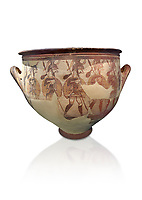 'House of Warriors Vase' : Pictoral Mycenaean Krater depicting Mycenaean soldiers in full armour, Mycenae Acropolis, 12th Cent BC.  National Archaeological Museum Athens. Cat no 1426.  White Background.<br /> <br /> This large pictoral Mycenaean Krater depicts Mycenaean soldiers full armed with helmet, cuirass, greaves, shield and spaer as they depart for war. This is a superb example of Mycenaean pictoral pottery