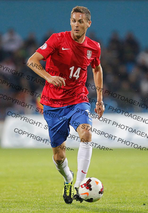 Fudbal Soccer<br /> World Cup 2014 qualifiers match<br /> Serbia v Macedonia<br /> Nemanja Matic<br /> Jagodina, 15.10.2013.<br /> foto: Srdjan Stevanovic/Starsportphoto &copy;