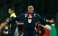Napoli's coach  Maurizio Sarri reacts during the  italian serie a soccer match,between SSC Napoli and AS Roma       at  the San  Paolo   stadium in Naples  Italy ,December 13, 2015