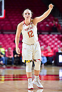 College Park, MD - NOV 16, 2016: Maryland Terrapins guard Kristen Confroy (12) yells out a play during game between Maryland and Maryland Eastern Shore Lady Hawks at XFINITY Center in College Park, MD. The Terps defeated the Lady Hawks 106-61. (Photo by Phil Peters/Media Images International)