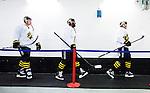Stockholm 2014-10-14 Ishockey Hockeyallsvenskan AIK - Malm&ouml; Redhawks :  <br /> AIK:s Yared Hagos p&aring; v&auml;g ut med lagkamrater till uppv&auml;rmningen inf&ouml;r matchen mellan AIK och Malm&ouml; Redhawks <br /> (Foto: Kenta J&ouml;nsson) Nyckelord:  AIK Gnaget Hockeyallsvenskan Allsvenskan Hovet Johanneshov Isstadion Malm&ouml; Redhawks portr&auml;tt portrait inomhus interi&ouml;r interior