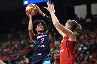 Washington, DC - June 1, 2019: Atlanta Dream guard Brittney Sykes (7) goes up for a basket over Washington Mystics center Emma Meesseman (33) during game between Atlanta Dream and Washington Mystics at the St. Elizabeths East Entertainment and Sports Arena (Photo by Phil Peters/Media Images International)