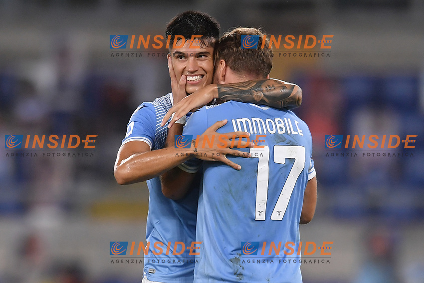 Ciro Immobile of Lazio celebrates with Joaquin Correa after scoring the 2-0 goal<br /> during the Serie A football match between SS Lazio  and Brescia Calcio at stadio Olimpico in Roma (Italy), July 29th, 2020. Play resumes behind closed doors following the outbreak of the coronavirus disease. <br /> Photo Antonietta Baldassarre / Insidefoto