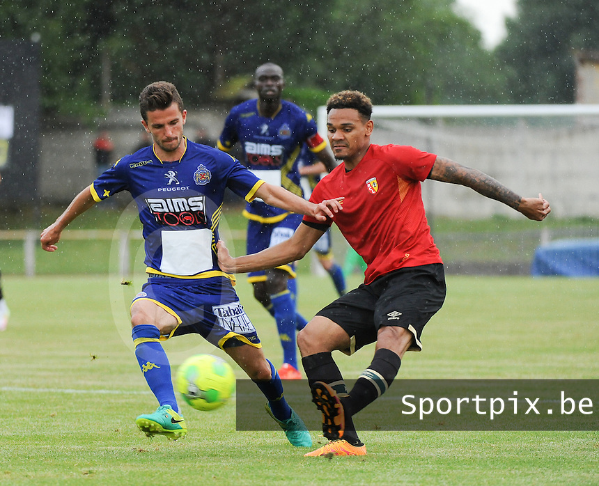 20160713 - DOUAI , FRANCE : RC Lens' Kenny Lala (R) and Waasland Beveren's Siebe Schrijvers (L) pictured during a friendly game between Racing Club de LENS and Waasland Beveren during the preparations for the 2016-2017 season , Wednesday 13 July 2016 ,  PHOTO Dirk Vuylsteke | Sportpix.Be