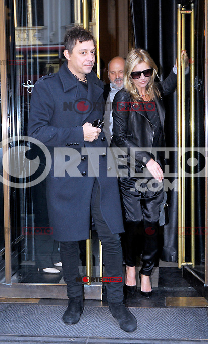 November 15th, 2012 - London..After shopping at famous jeweler S.J. Phillips Ltd , Kate Moss and Jamie Hince went for a bite to eat at exclusive eatery The Wolseley in Picadilly. Kate is seen leaving the restaurant wearing her newly bought necklace.<br /> (KDN/NortePhoto)
