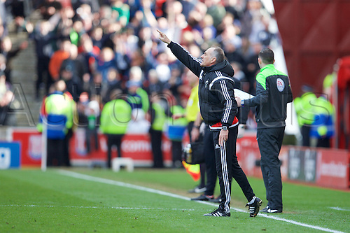 02.04.2016. Britannia Stadium, Stoke, England. Barclays Premier League. Stoke City versus Swansea City. Swansea City head coach Francesco Guidolin gives instructions to his players as they hold their score.