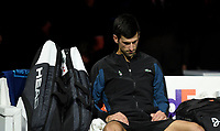 Novak Djokovic in deep thought after losing the match against Alexander Zverev in the finals today<br /> <br /> Photographer Hannah Fountain/CameraSport<br /> <br /> International Tennis - Nitto ATP World Tour Finals Day 8 - O2 Arena - London - Sunday 18th November 2018<br /> <br /> World Copyright &copy; 2018 CameraSport. All rights reserved. 43 Linden Ave. Countesthorpe. Leicester. England. LE8 5PG - Tel: +44 (0) 116 277 4147 - admin@camerasport.com - www.camerasport.com
