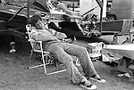 When the wind blows at any outboard race, racers catch up on their sleep. Here Mike Jones bags some Zs while waiting for the wind to stop at Wakefield, Michigan. Jones has driven virtually every level of hydroplane that the APBA races and has been successful in them all, from A Stock Hydro to Unlimited hyrdos.