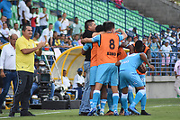 MONTERIA - COLOMBIA, 09-02-2020: Jugadores del Jaguares celebran después de anotar el primer gol de su equipo durante el partido por la fecha 4 Liga BetPlay DIMAYOR I 2020 entre Jaguares de Córdoba F.C. y Millonarios jugado en el estadio Jaraguay de la ciudad de Montería. / Players of Jaguares celebrate after scoring the first goal of their team during match for the date 4 BetPlay DIMAYOR League I 2020 between Jaguares de Cordoba F.C. and Millonarios played at Jaraguay stadium in Monteria city. Photo: VizzorImage / Andres Felipe Lopez / Cont