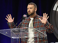 MINNEAPOLIS, MN - FEBRUARY 1: Justin Timberlake speaks to the media at the press conference for the Super Bowl LII Pepsi Halftime show at the Hilton Minneapolis on February 1, 2018 in Minneapolis, Minnesota. (Photo by Frank Micelotta/PictureGroup)